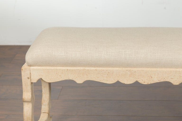 Italian 19th Century Baroque Style Bleached Oak Lyre Bench with New Upholstery For Sale 1