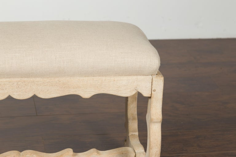 Italian 19th Century Baroque Style Bleached Oak Lyre Bench with New Upholstery For Sale 2