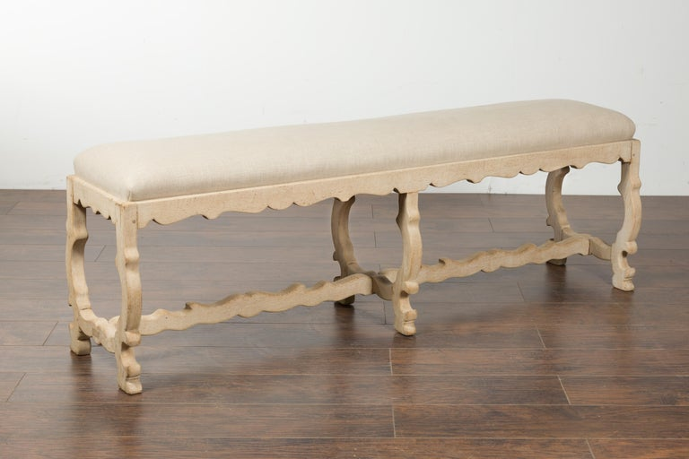 Italian 19th Century Baroque Style Bleached Oak Lyre Bench with New Upholstery For Sale 6