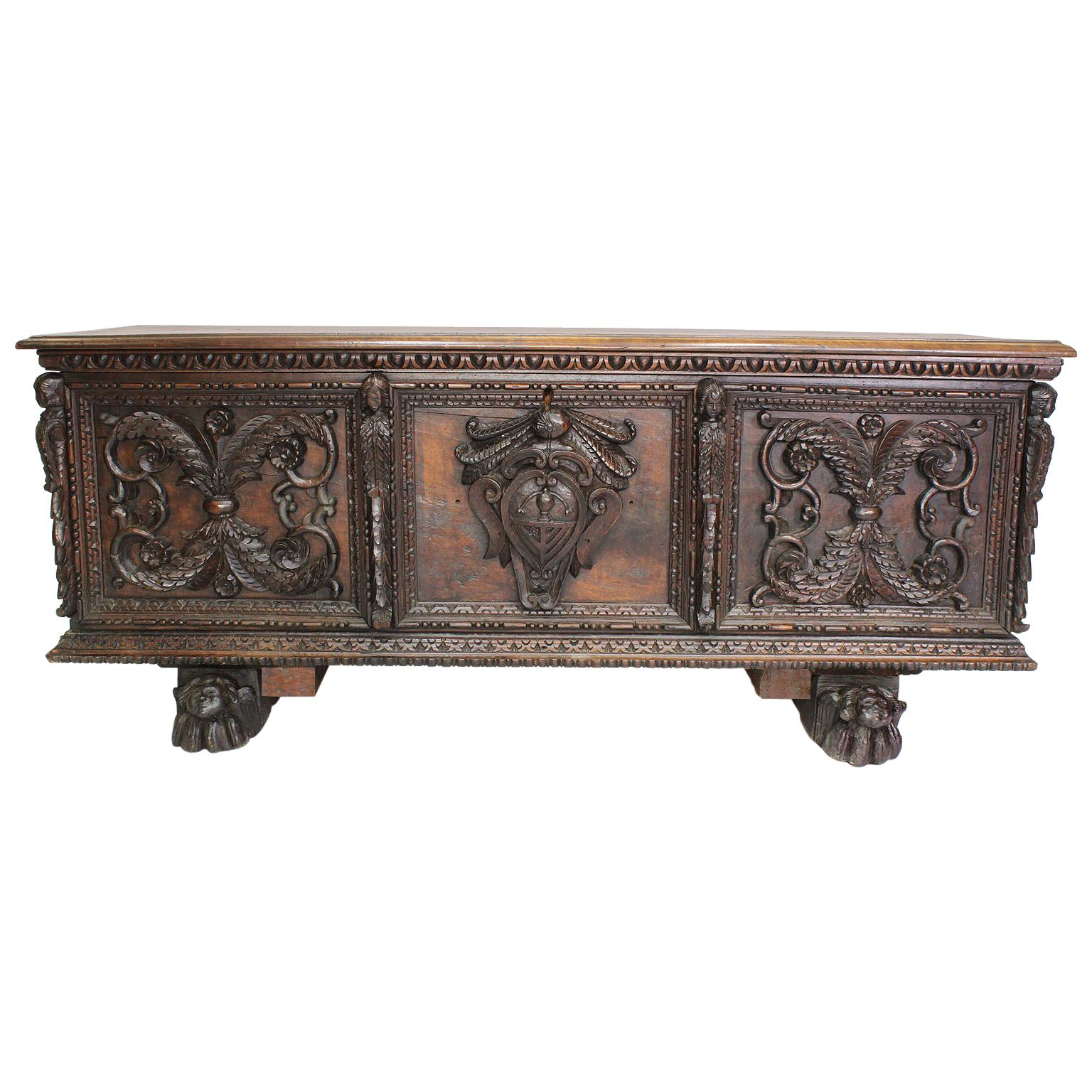 Italian 19th Century Baroque Style Carved Walnut Figural Cassone Chest-Trunk
