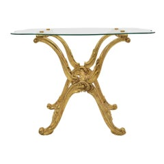 Italian 19th Century Baroque Style Giltwood and Glass Cocktail Table