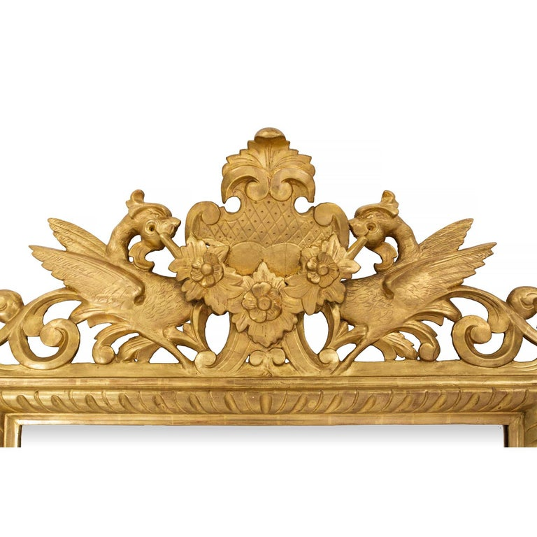Italian 19th Century Baroque Style Giltwood Mirror In Excellent Condition For Sale In West Palm Beach, FL