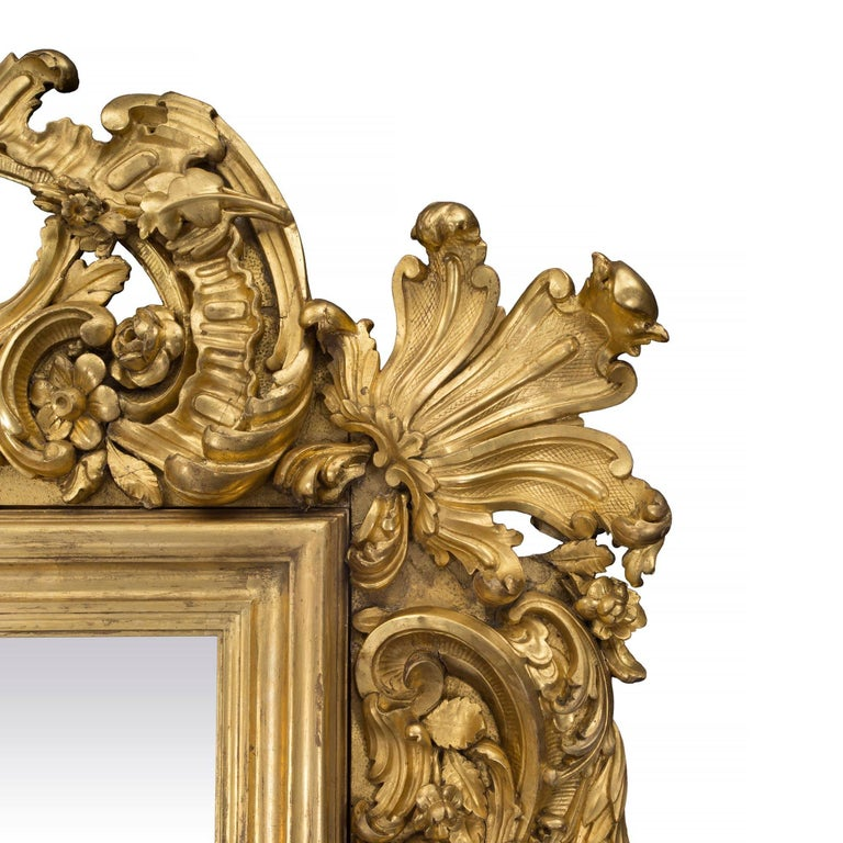 Italian 19th Century Baroque Style Giltwood Mirror For Sale 1