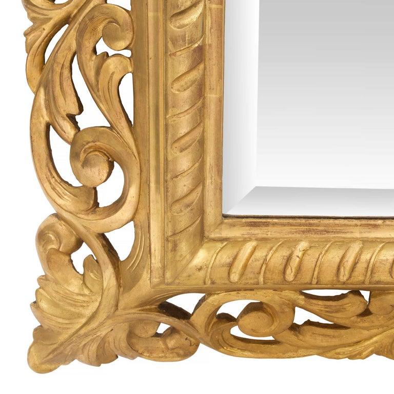 Italian 19th Century Baroque Style Giltwood Mirror For Sale 2