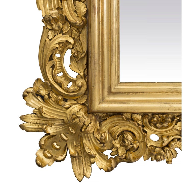 Italian 19th Century Baroque Style Giltwood Mirror For Sale 3