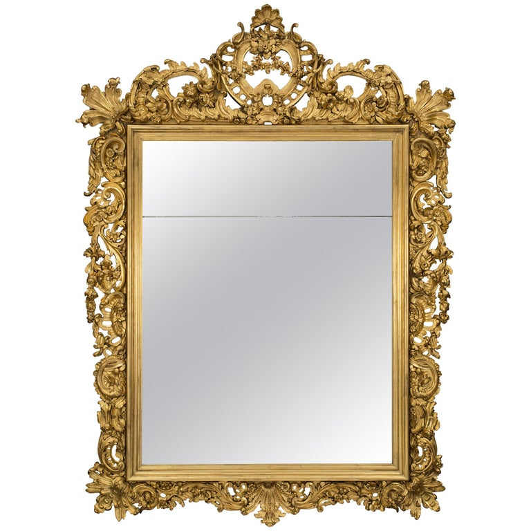 Italian 19th Century Baroque Style Giltwood Mirror For Sale