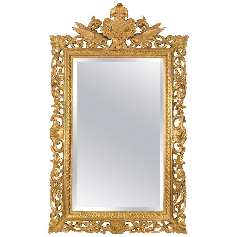 Italian 19th Century Baroque Style Giltwood Mirror For Sale