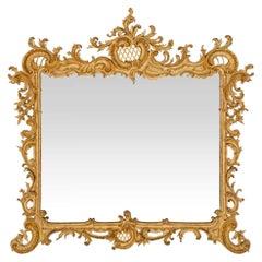 Italian 19th Century Baroque Style Giltwood Rectangular Mirror
