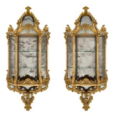 Italian 19th Century Baroque Style Wall-Mounted Mirrored Giltwood Étagères, Pair