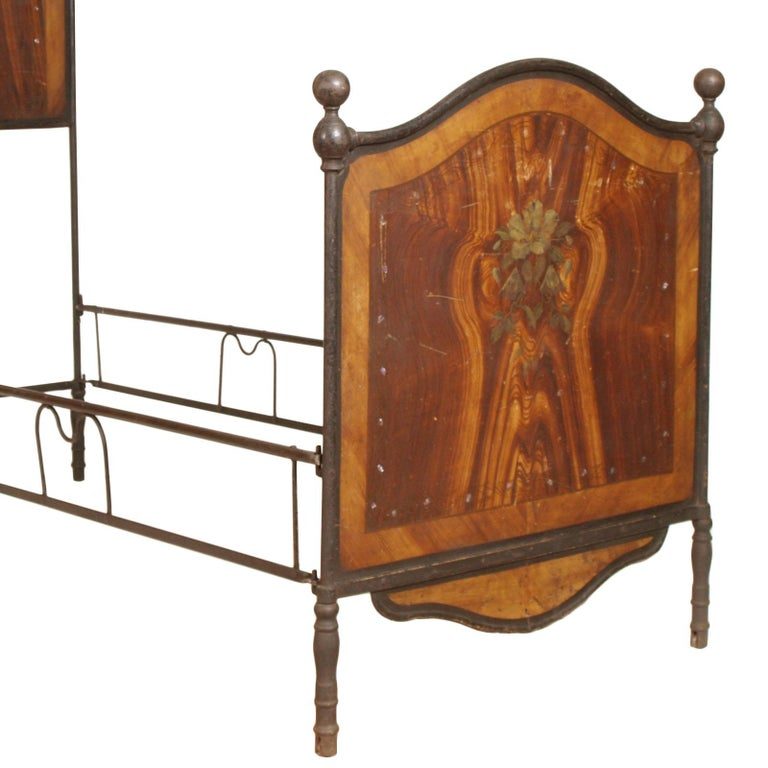 King Mother Of Pearl Headboard By The Yard: Italian 19th Century Bed Wrought Iron, Decorated With