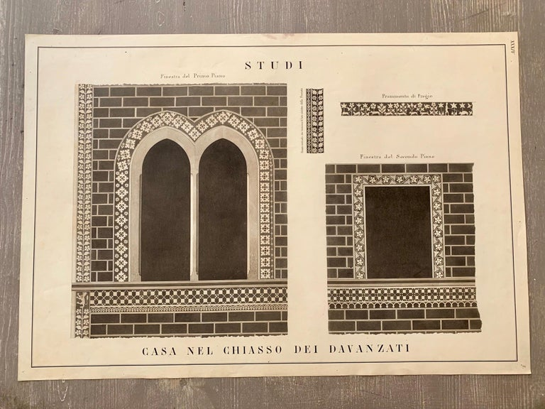Rare extra-large (cm 59 x 85) antique watercolor from a collection of architectural details of Florence monuments painted in Italy in the mid-19th century. Black mat with gold hand painted band and handcrafted black and gold leaf frame. These