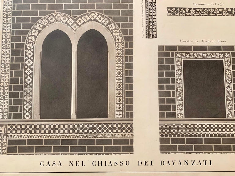 Neoclassical Italian 19th Century Big Size Architectural Watercolor with Black Gold Frame For Sale