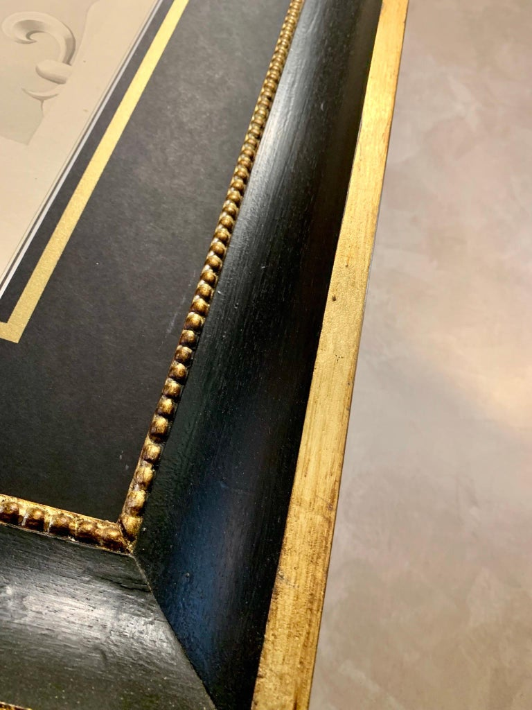 Italian 19th Century Big Size Architectural Watercolor with Black Gold Frame For Sale 2