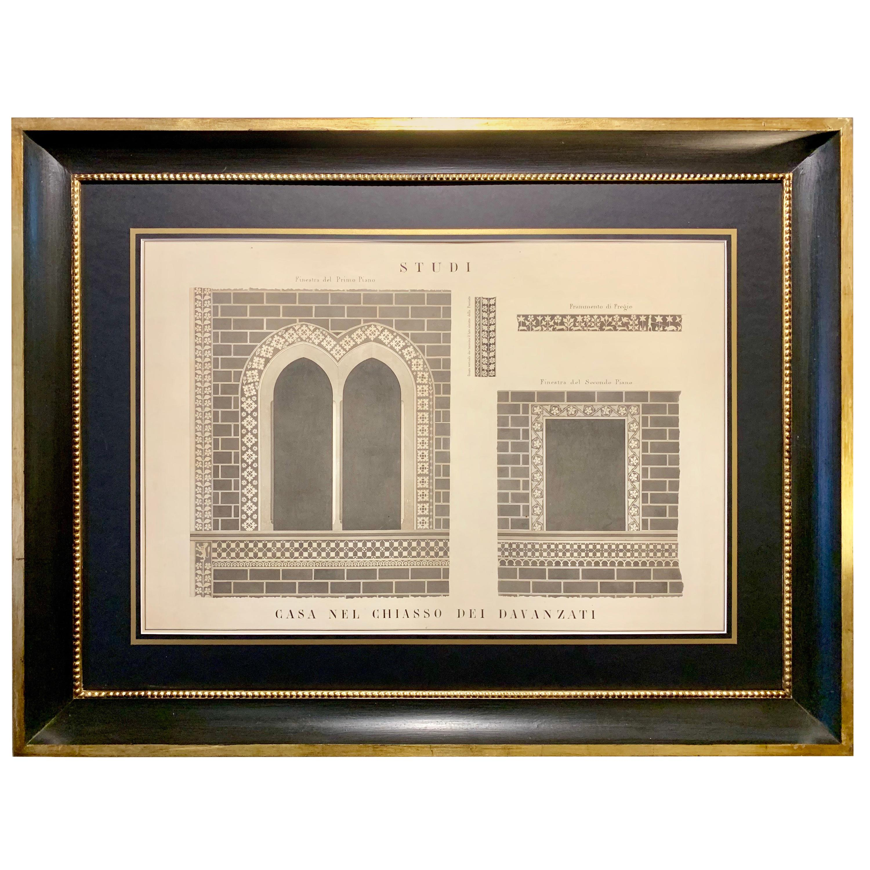 Italian 19th Century Big Size Architectural Watercolor with Black Gold Frame