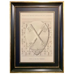 Italian 19th Century Big Size Watercolor with Black and Gold Frame