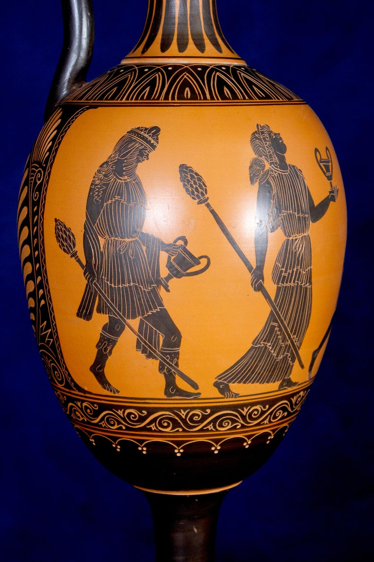 Italian 19th Century Black-Ground Terracotta Vase In Good Condition For Sale In Rome, IT