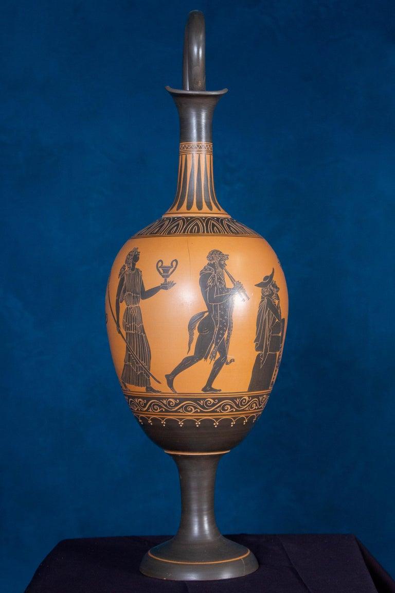Italian 19th Century Black-Ground Terracotta Vase For Sale 2
