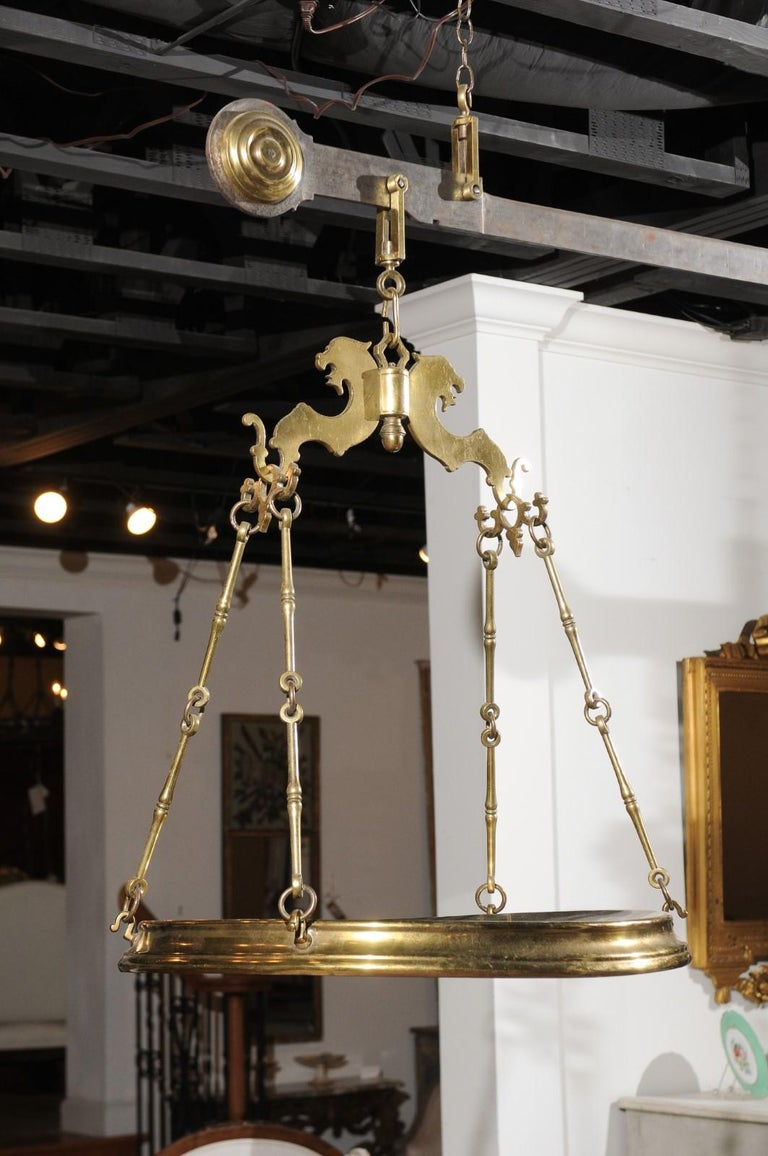 Italian 19th Century Brass Hanging Cheese Weighing Scale with Circular Tray For Sale 8