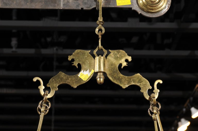 Italian 19th Century Brass Hanging Cheese Weighing Scale with Circular Tray For Sale 1