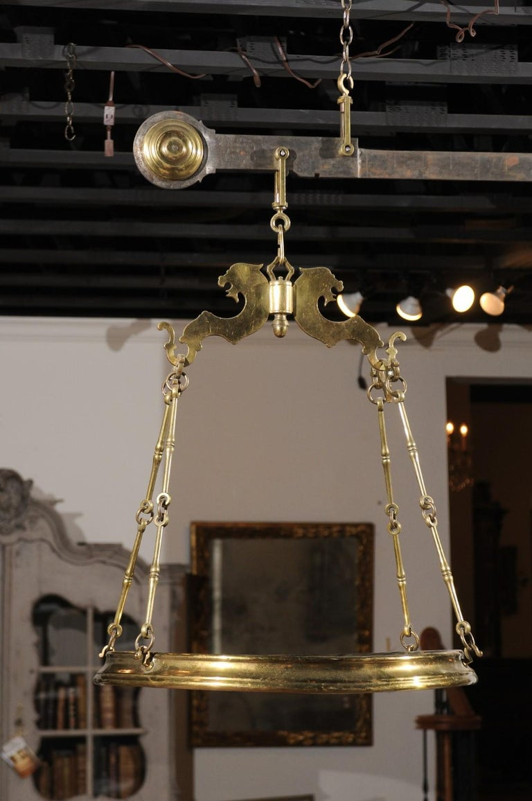 Italian 19th Century Brass Hanging Cheese Weighing Scale with Circular Tray For Sale 6