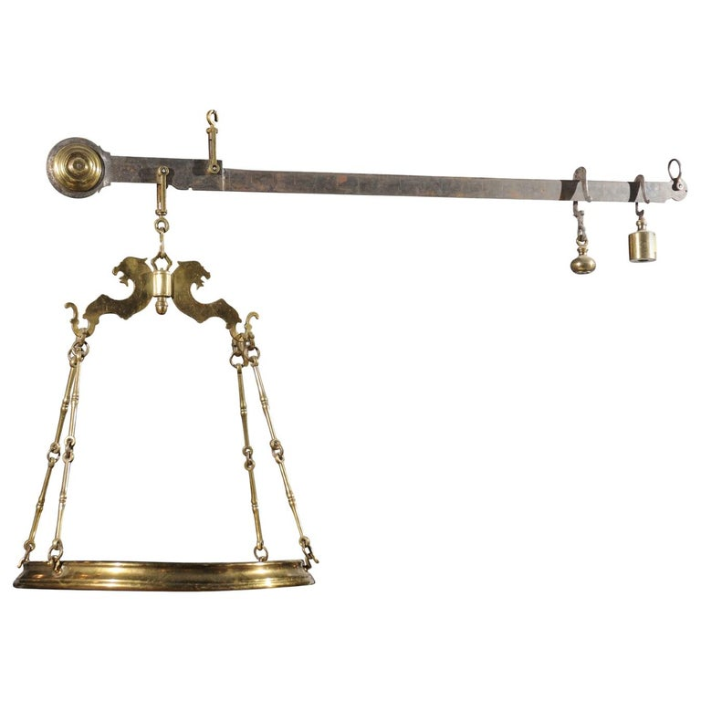 Italian 19th Century Brass Hanging Cheese Weighing Scale with Circular Tray For Sale