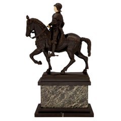 Italian 19th Century Bronze and Marble Statue of a Nobleman on His Horse