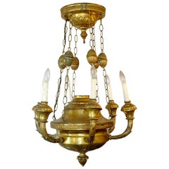 Italian 19th Century Bronze Dome Chandelier with Six Outer Lights