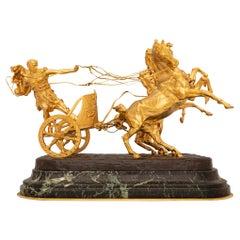 Italian 19th Century Bronze, Ormolu, and Marble Sculpture, Signed Vanetti