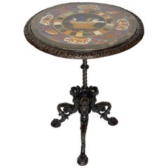 Italian 19th Century Bronze Pietra Dura Pedestal Table