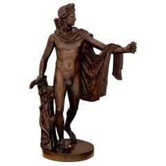 Italian 19th Century Bronze Statue of Apollo, Signed F. Barbedienne Fondeur