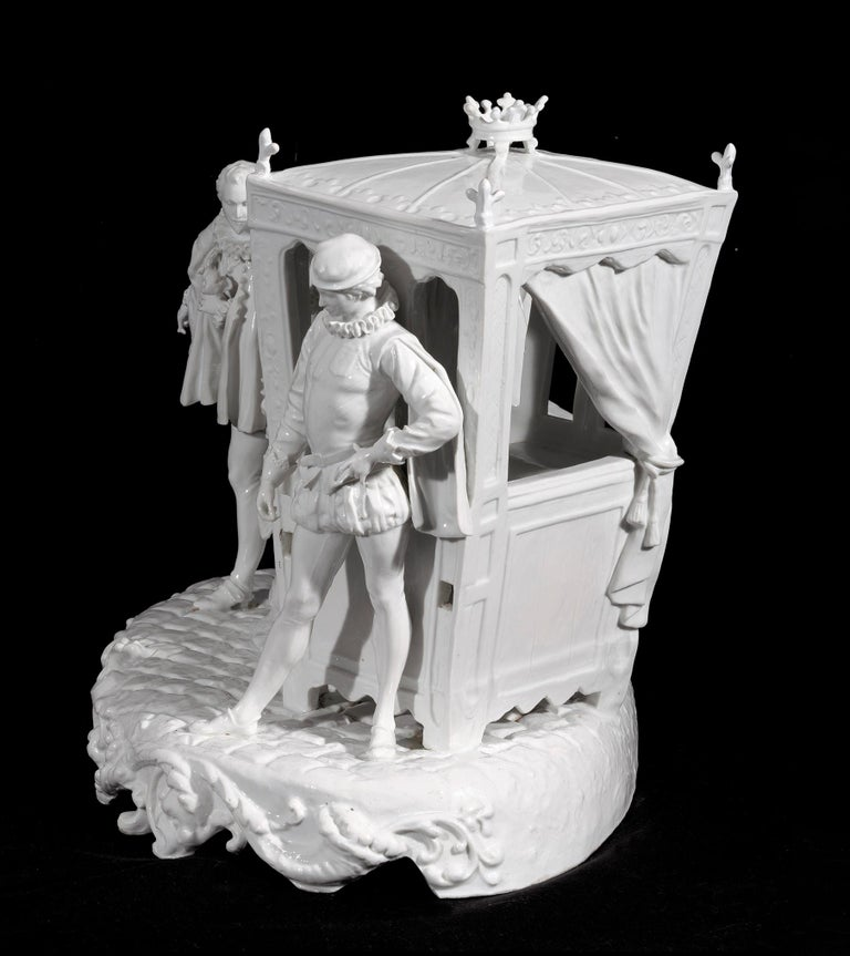 A monumental Italian Capodimonte centrepiece featuring gallant scene in dress renaissance. This stunning white full-relief porcelain sculpture bears the mark of a crowned N underneath its base. Italian manufactory, Capodimonte Naples, from the first