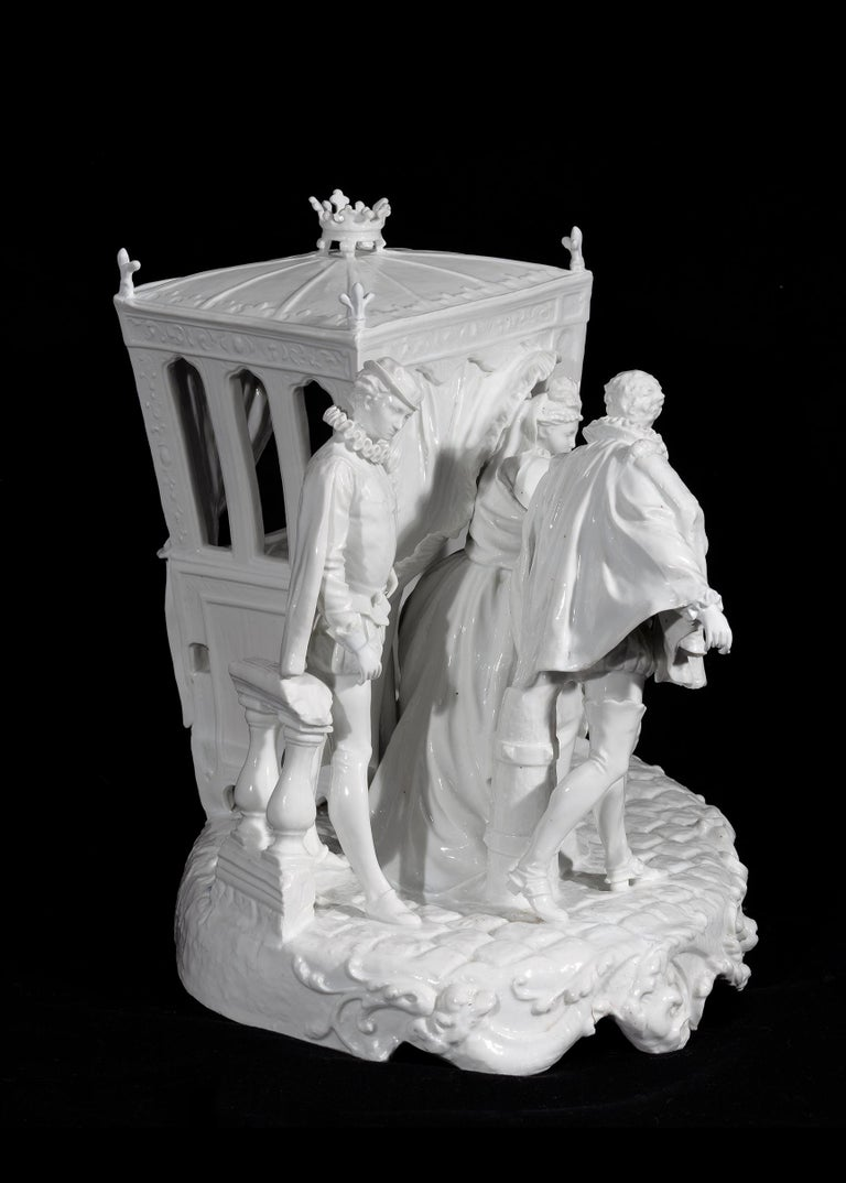 Neoclassical Revival Italian 19th Century Capodimonte Porcelain Full-Relief Gallant Scene For Sale
