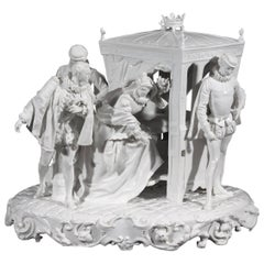Italian 19th Century Capodimonte Porcelain Full-Relief Gallant Scene