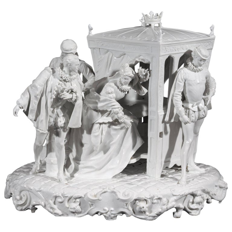 Italian 19th Century Capodimonte Porcelain Full-Relief Gallant Scene For Sale
