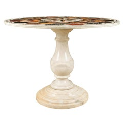 Italian 19th Century Carrara Marble Centre Table with Specimen Marble Inlaid Top