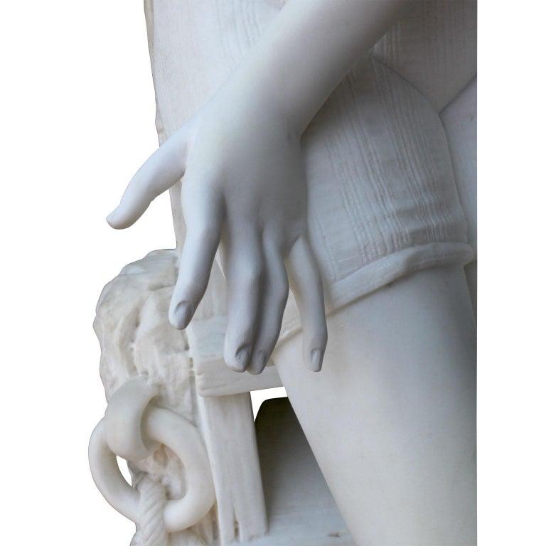 Italian 19th Century Carrara Marble Sculpture Going for a Swim by Emilio Fiaschi For Sale 5