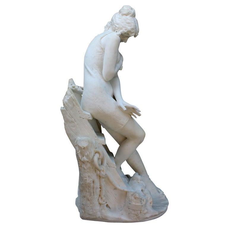 Italian 19th Century Carrara Marble Sculpture Going for a Swim by Emilio Fiaschi For Sale 7