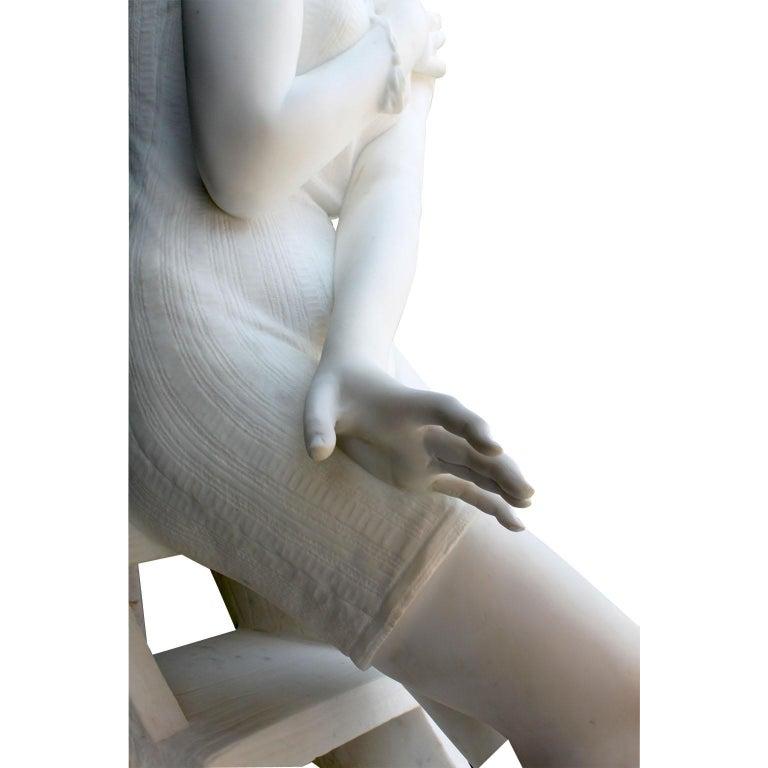 Italian 19th Century Carrara Marble Sculpture Going for a Swim by Emilio Fiaschi For Sale 9