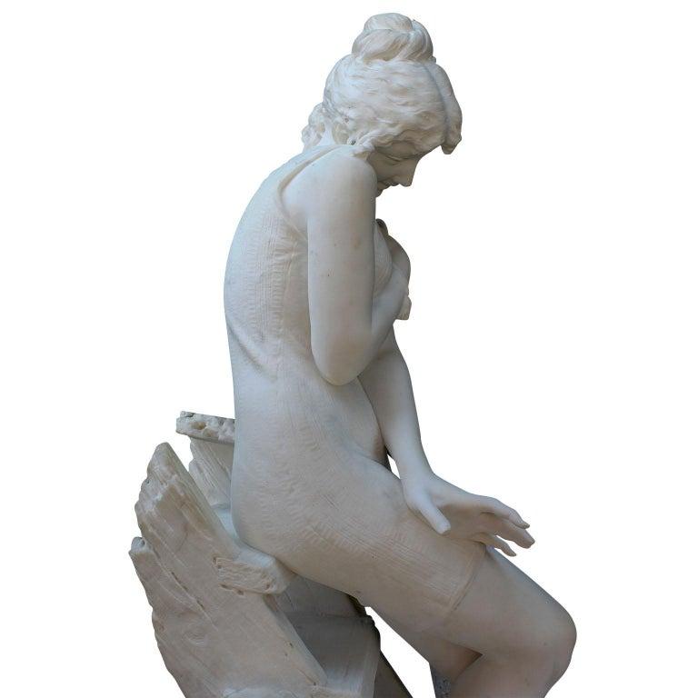 Italian 19th Century Carrara Marble Sculpture Going for a Swim by Emilio Fiaschi For Sale 10