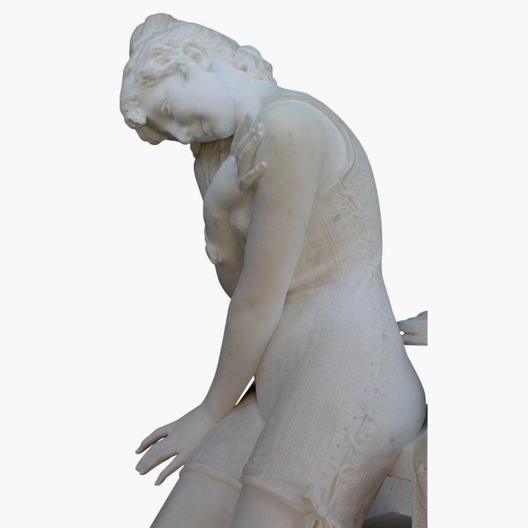 Italian 19th Century Carrara Marble Sculpture Going for a Swim by Emilio Fiaschi For Sale 11