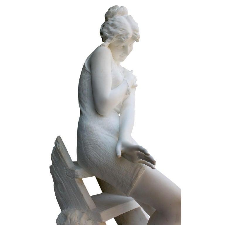 Italian 19th Century Carrara Marble Sculpture Going for a Swim by Emilio Fiaschi For Sale 14