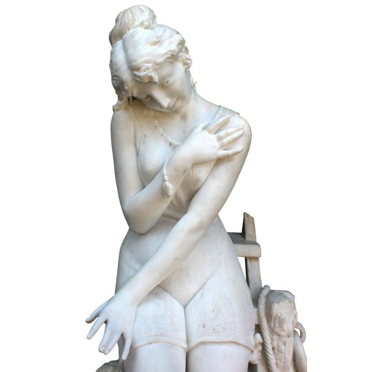 Italian 19th Century Carrara Marble Sculpture Going for a Swim by Emilio Fiaschi For Sale 15
