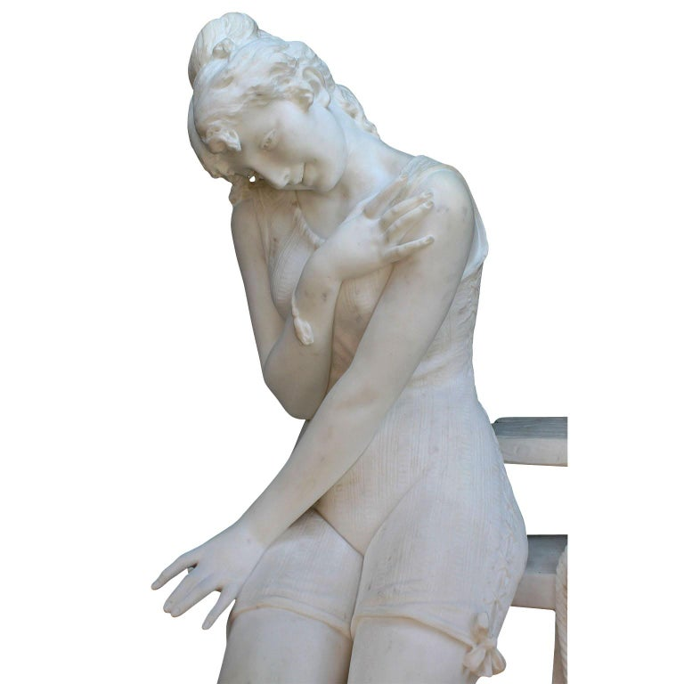 Italian 19th Century Carrara Marble Sculpture Going for a Swim by Emilio Fiaschi In Good Condition For Sale In Los Angeles, CA