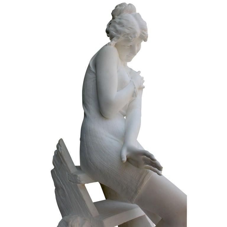 Italian 19th Century Carrara Marble Sculpture Going for a Swim by Emilio Fiaschi For Sale 2