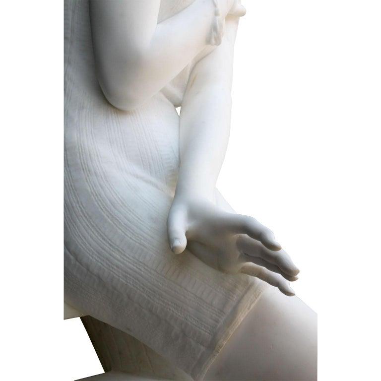Italian 19th Century Carrara Marble Sculpture Going for a Swim by Emilio Fiaschi For Sale 4