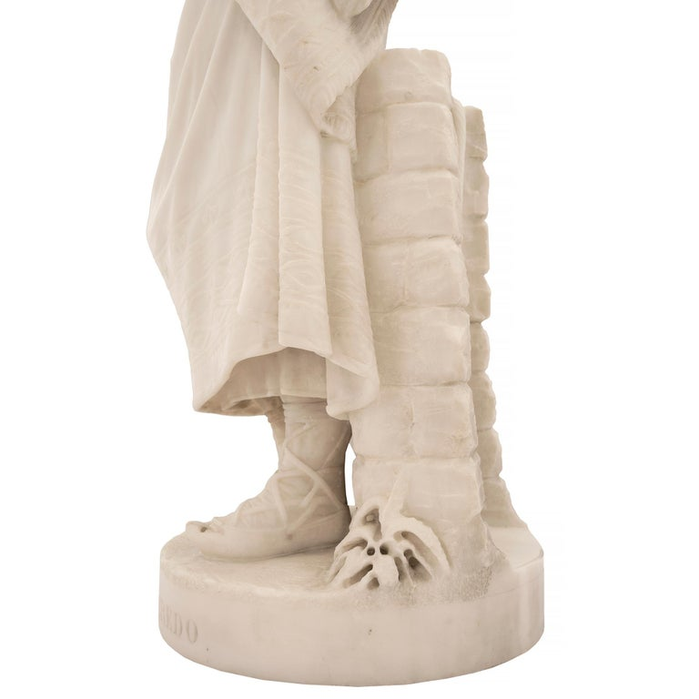 Italian 19th Century Carrara Marble Statue of a Young Girl For Sale 7