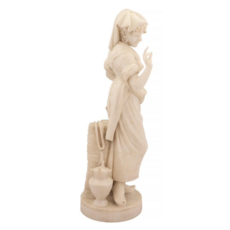 Italian 19th Century Carrara Marble Statue of a Young Girl In Good Condition For Sale In West Palm Beach, FL