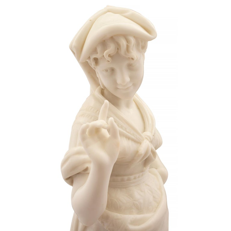 Italian 19th Century Carrara Marble Statue of a Young Girl For Sale 3