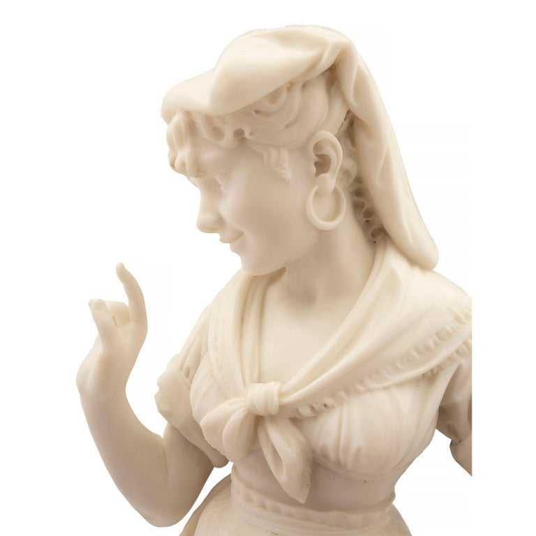 Italian 19th Century Carrara Marble Statue of a Young Girl For Sale 4