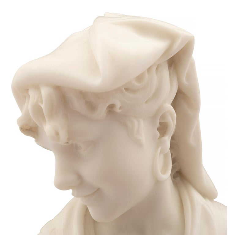 Italian 19th Century Carrara Marble Statue of a Young Girl For Sale 6